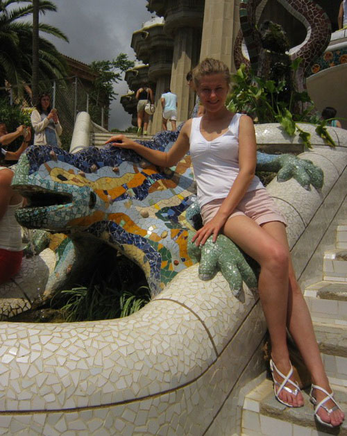 Мозаичная ящерица в парке Гуэль.