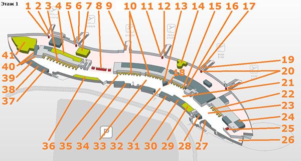 Схема этажа Р1 терминала Т1.