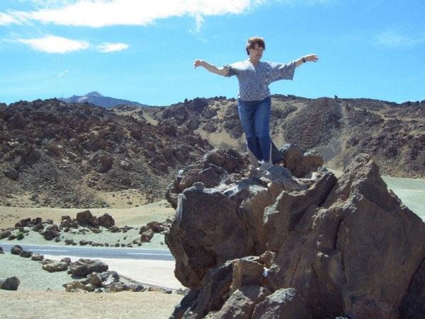 На каменной россыпи вулкана.