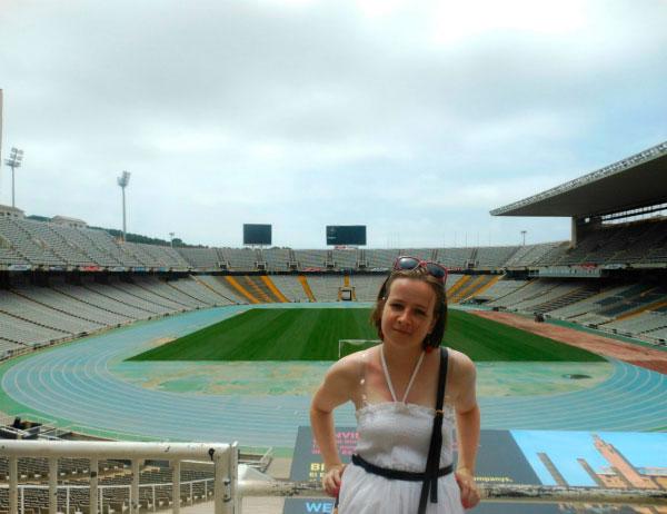 На стадионе.
