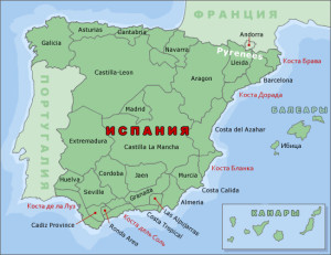 Моря и океан, омывающий Испанию