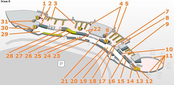 Схема этажа Р0 терминала Т1.