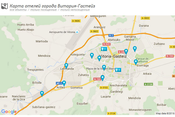 Карта отелей.