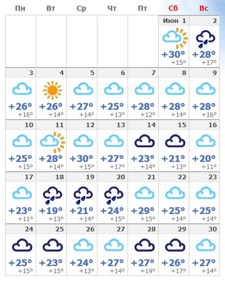 Июньская погода в Мадриде в 2019 году.