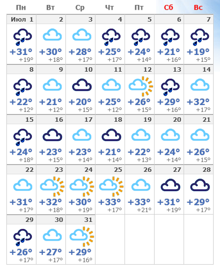 Июльская погода в Мадриде в 2020 году.