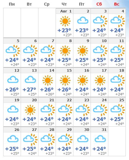 Погода на Тенерифе в августе  2020 года.